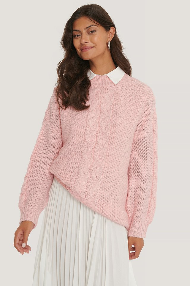 Oversized Cable Knitted Sweater Light Pink
