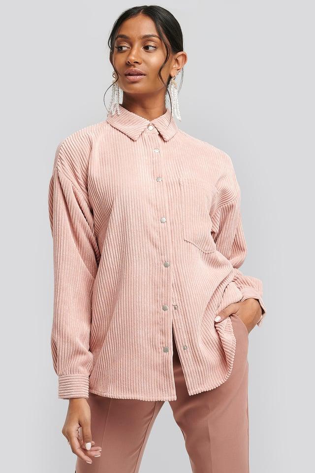 Oversized Corduroy Shirt Dusty Pink