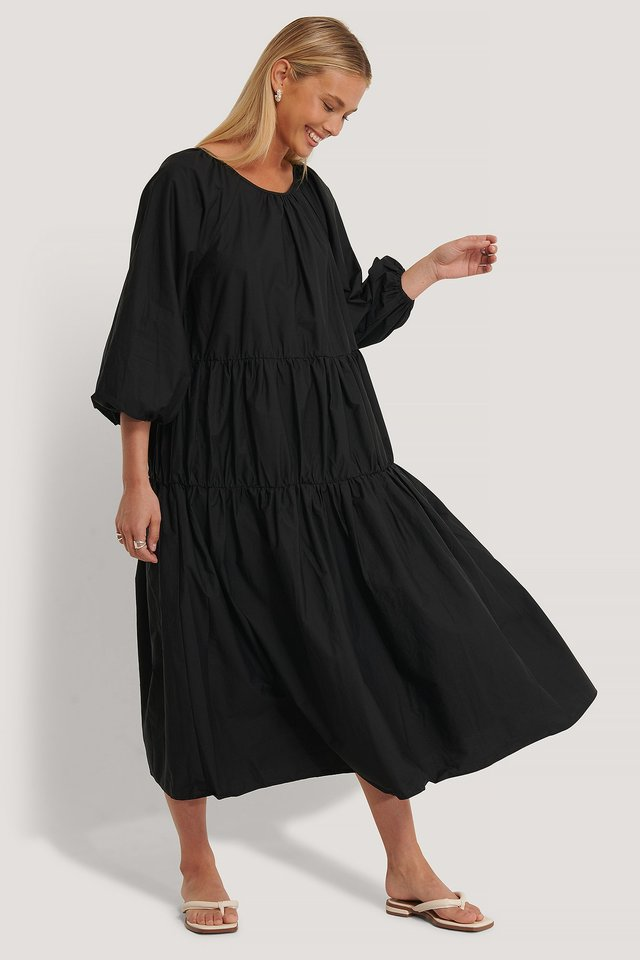 Oversized Cotton Dress Black