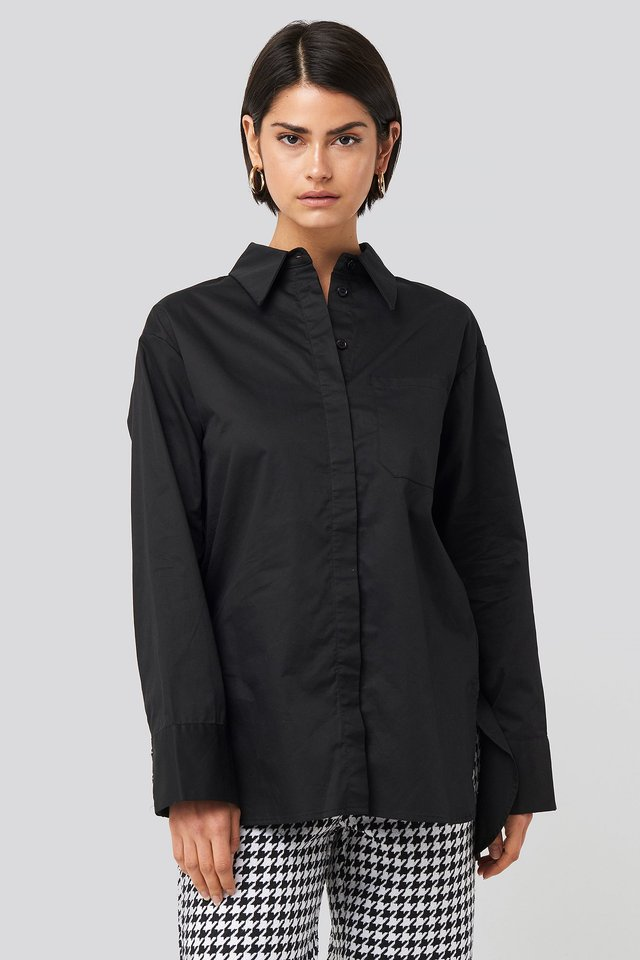 Oversized Cotton Pocket Shirt Black