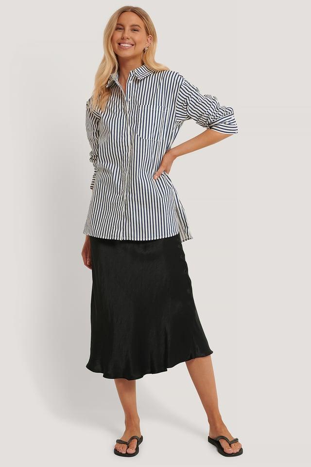 Oversize Bomullskjorta Med Ficka Blue Stripe