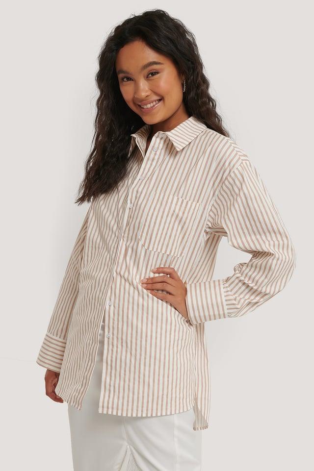 Oversize Bomullskjorta Med Ficka White/Beige Stripe