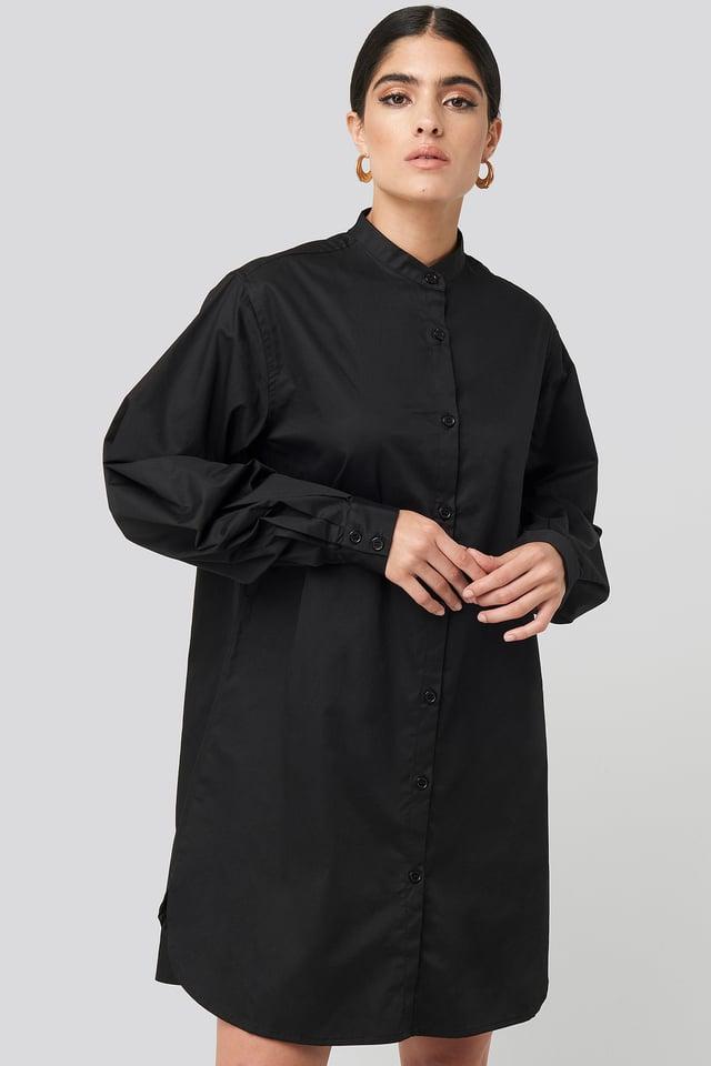 Oversized Cotton Shirt Dress Black