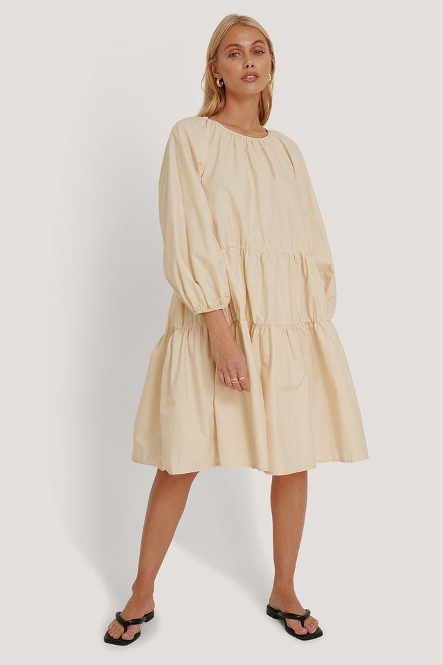 Beige Oversized Cotton Short Dress