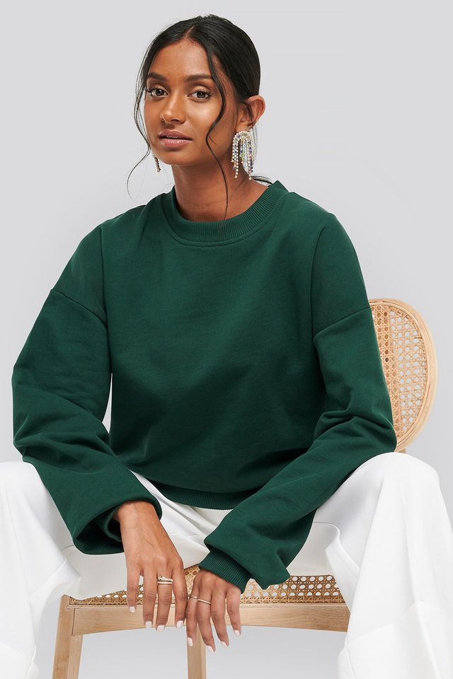 Oversized Crewneck Sweatshirt Dark Green