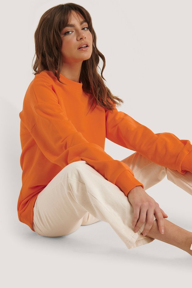 Oversized Crewneck Sweatshirt Orange