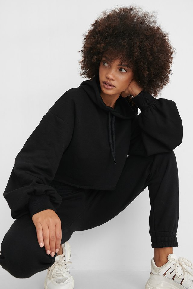 Oversized Cropped Hoodie Black