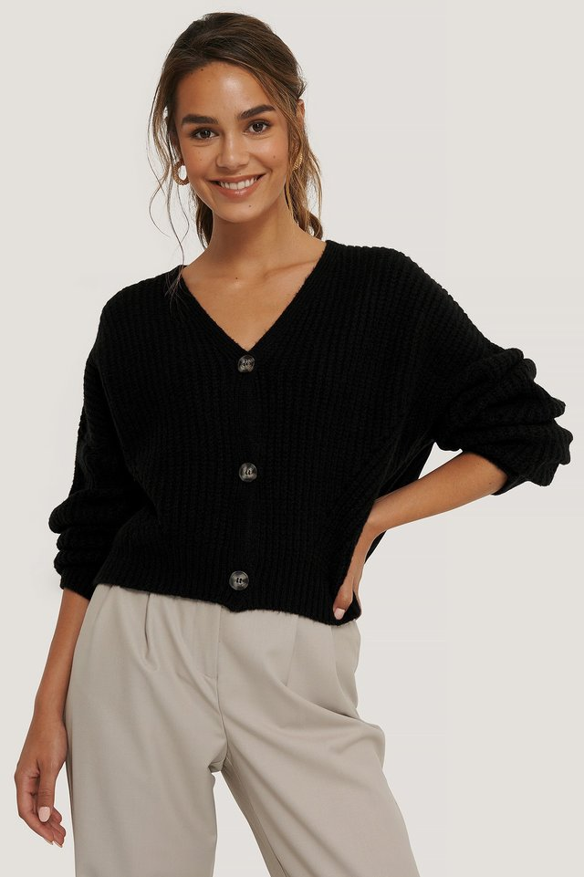 Black Oversized Cropped Cardigan