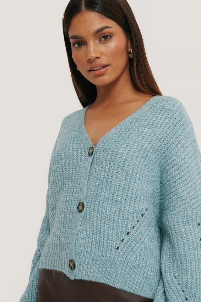 Oversized Cropped Cardigan Blue