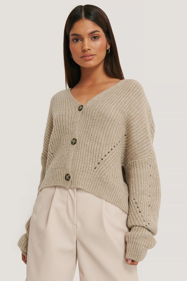 Beige Oversized Cropped Cardigan