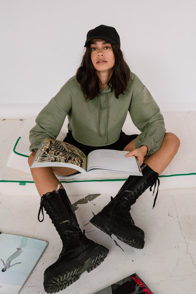 Army Green Oversized Cropped Hoodie