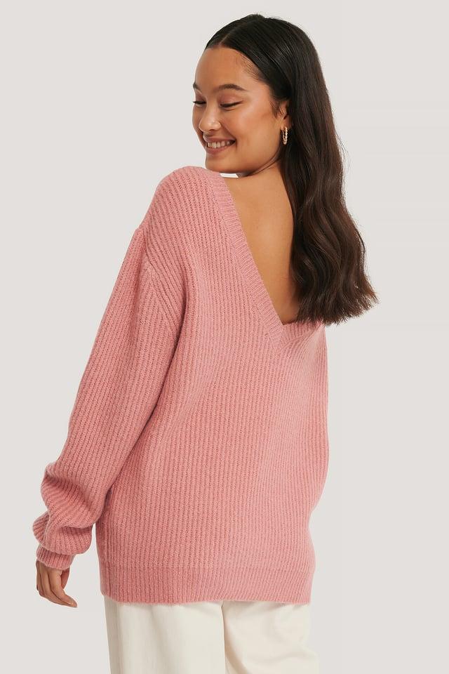 Jersey Oversize Con Espalda Pronunciada Dusty Dark Pink