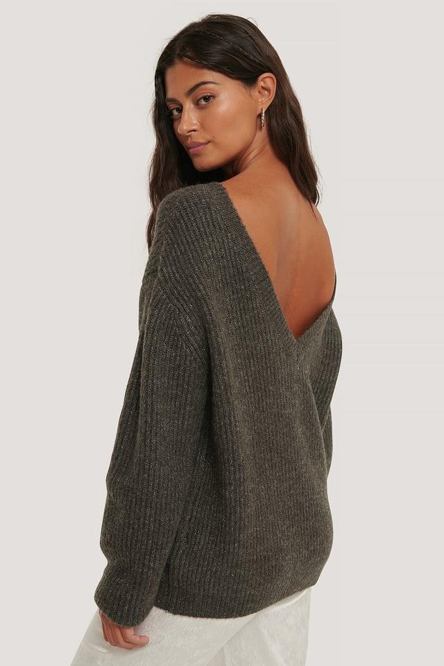 Oversized Deep Back Sweater Dark Grey