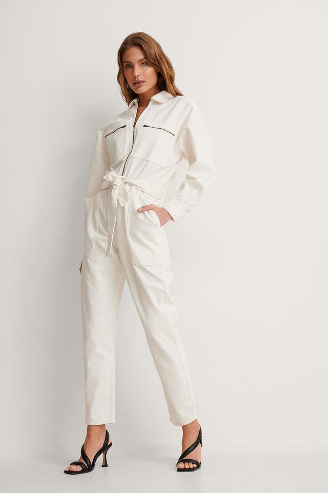 Ecru Organic Oversized Denim Boiler Suit