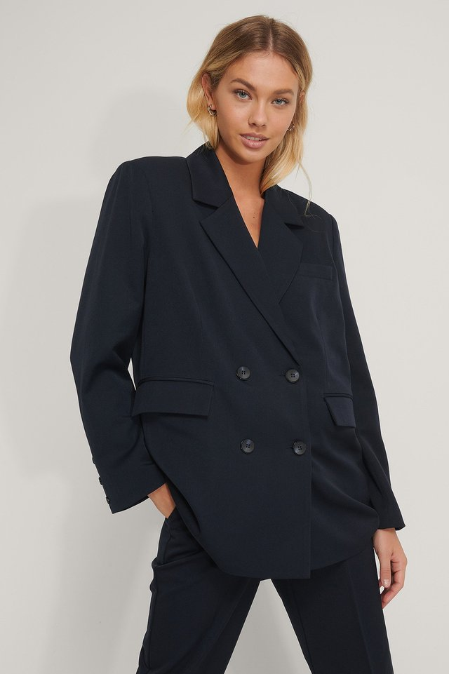 Dark Blue Oversized Double Breasted Blazer