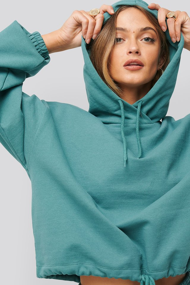 Oversized Drawcord Hoodie Green