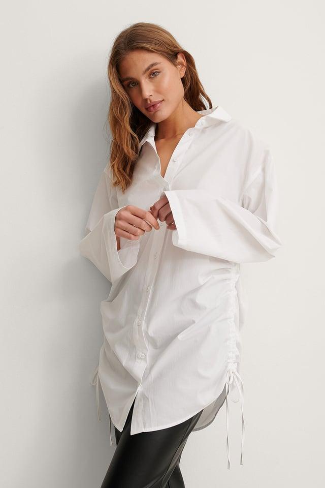 White Organic Oversized Drawstring Shirt