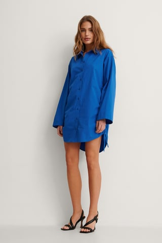 Blue Organic Oversized Drawstring Shirt