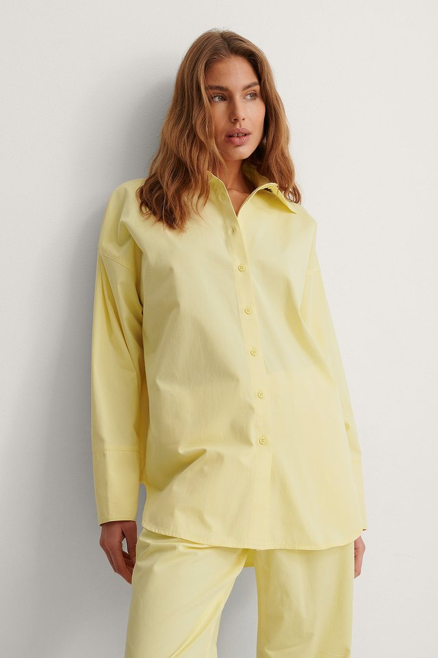 Cream Organic Oversized Dropped Shoulder Shirt