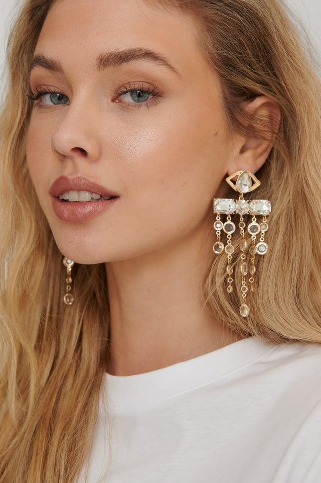 Gold Oversize Glass Drop Earrings