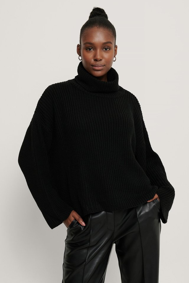 Oversized High Neck Knitted Sweater Black