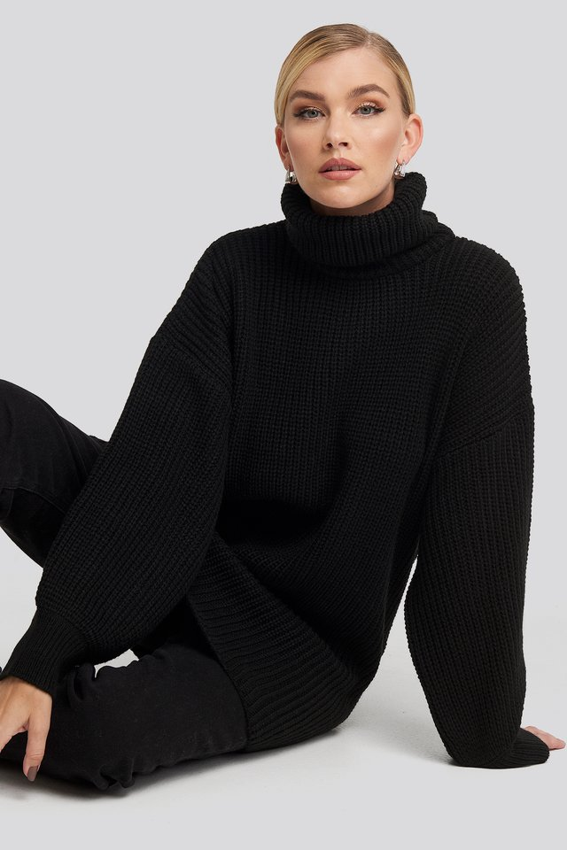 Oversized High Neck Long Knitted sweater NA-KD