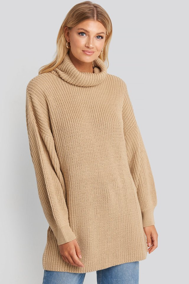 Oversized High Neck Long Knitted sweater Light Beige
