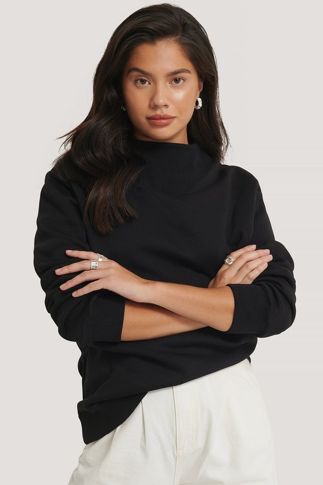 Oversized High Neck Sweatshirt Black