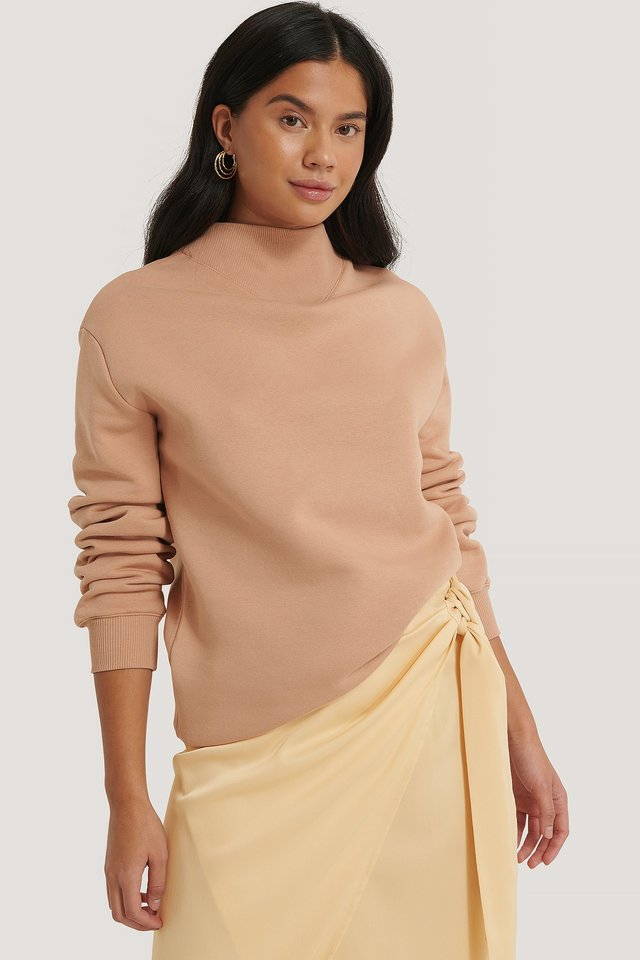 Oversized High Neck Sweatshirt Dusty Blush