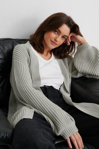 Grey Ekologisk Stickad Cardigan