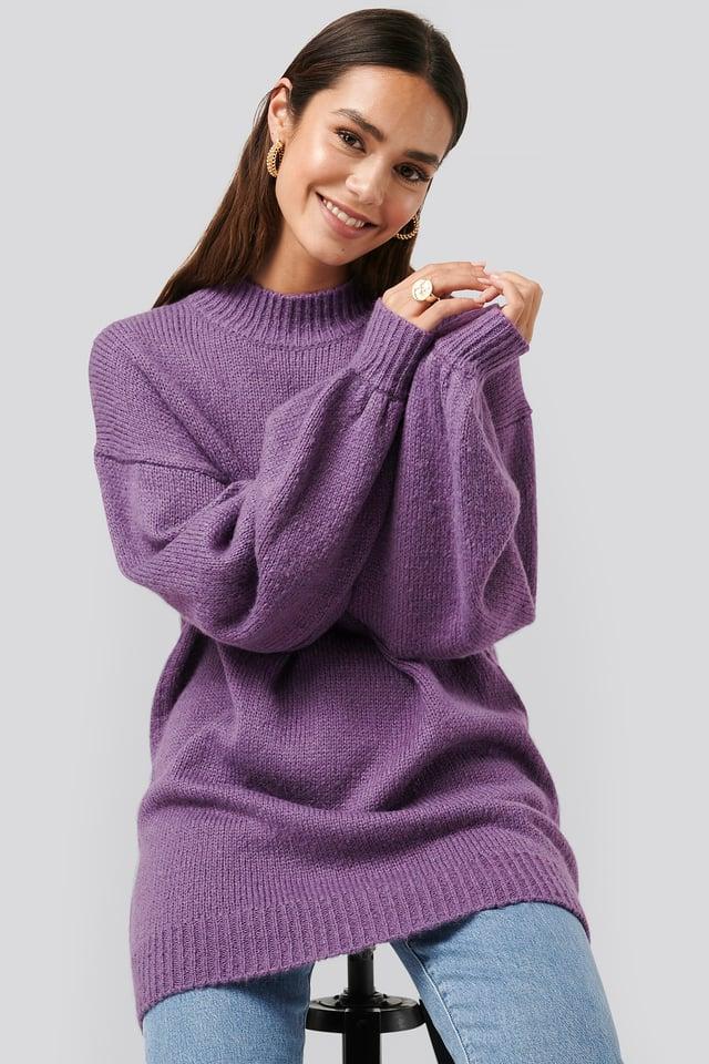 Oversized Long knitted Sweater Purple