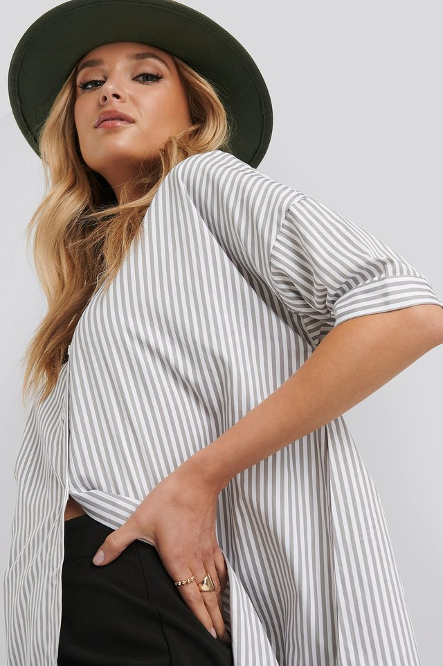 Oversized Long Striped Shirt Striped