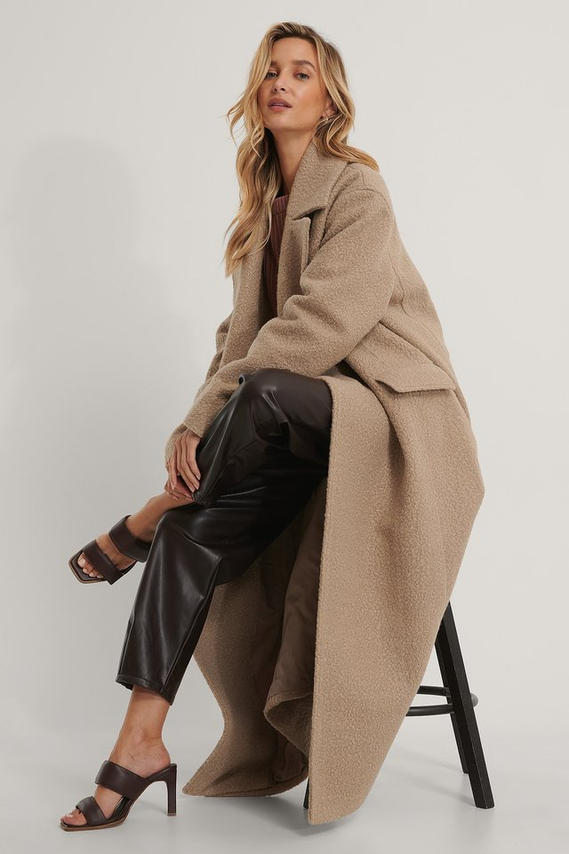 Beige Oversized Maxi Coat