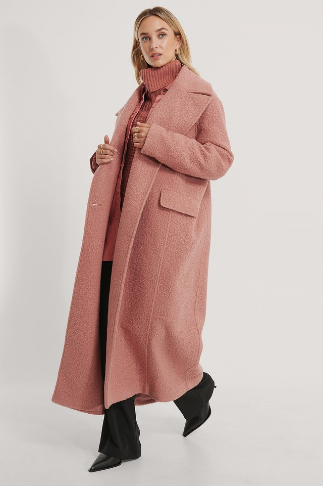 Luźny Płaszcz Dusty Pink