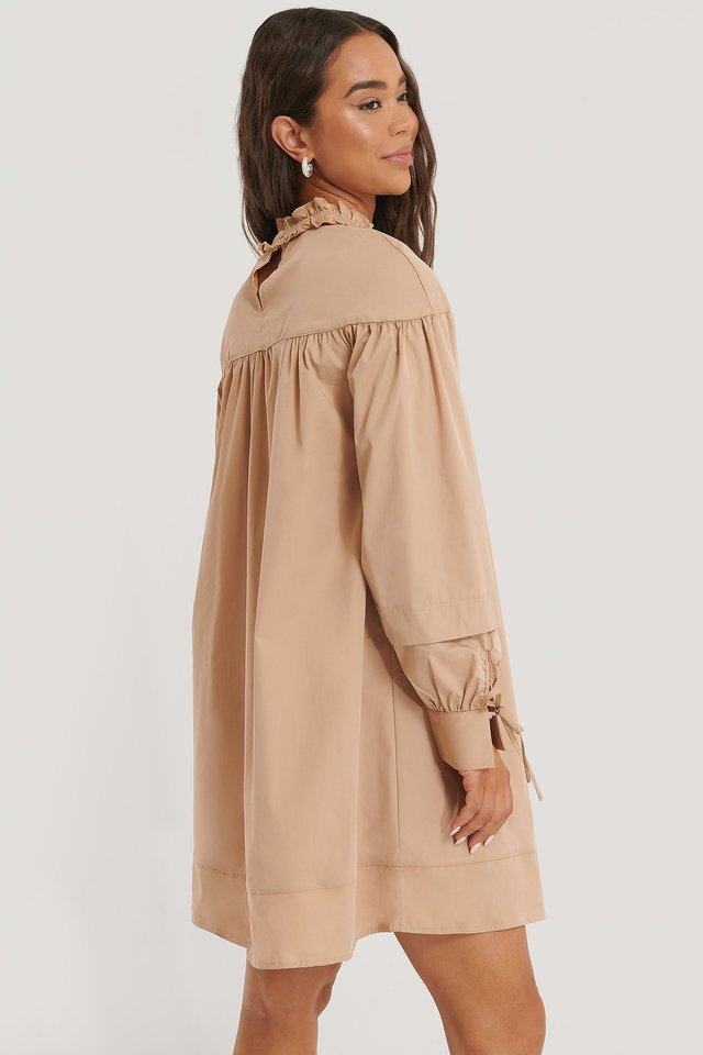 Beige Oversized Mini Dress