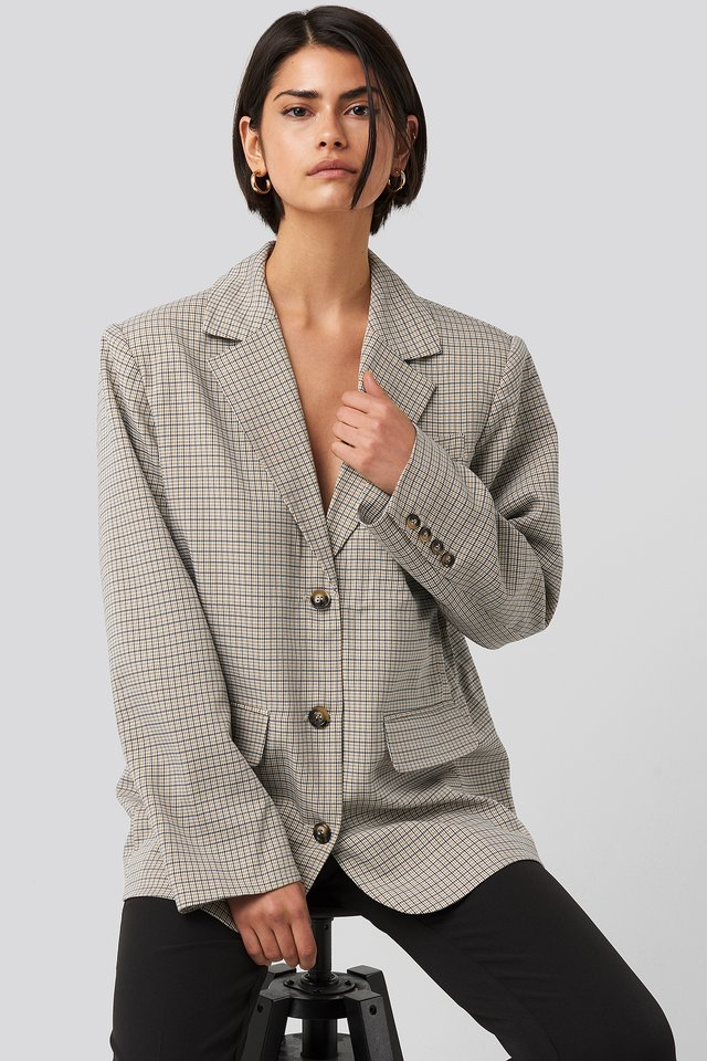 Oversized Plaid Blazer Beige Check