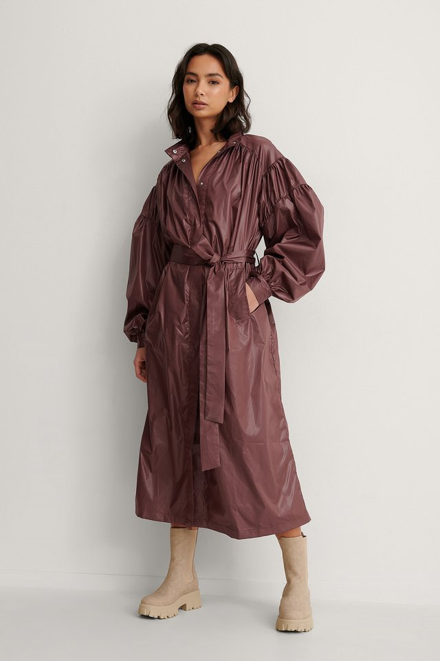 Burgundy Oversized Pleat Detail Coat