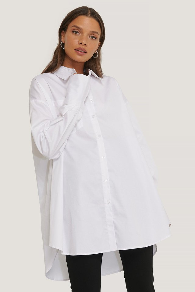 White Recycled Oversized Pocket Shirt