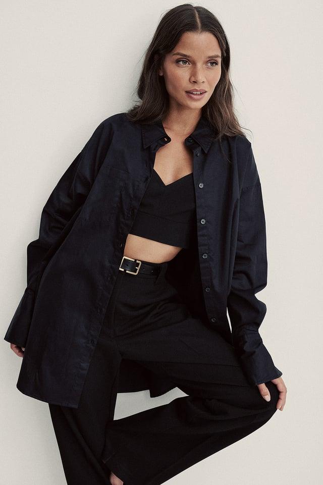 Recycled Oversize Skjorta Med Ficka Black
