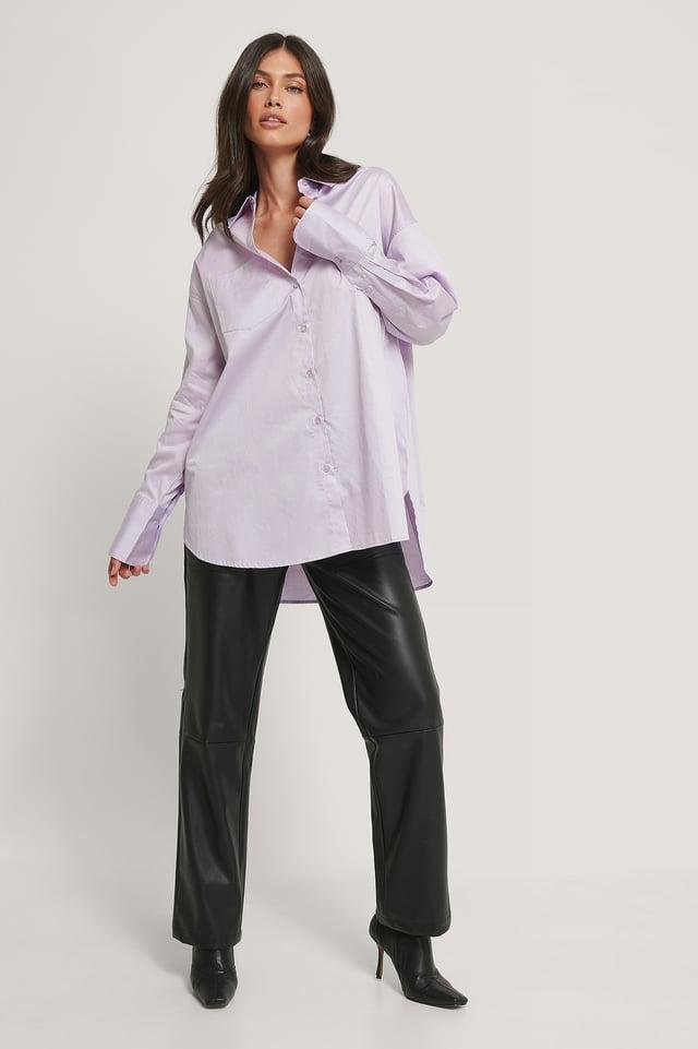 Resirkulert Oversized Skjorte Med Lomme Lilac