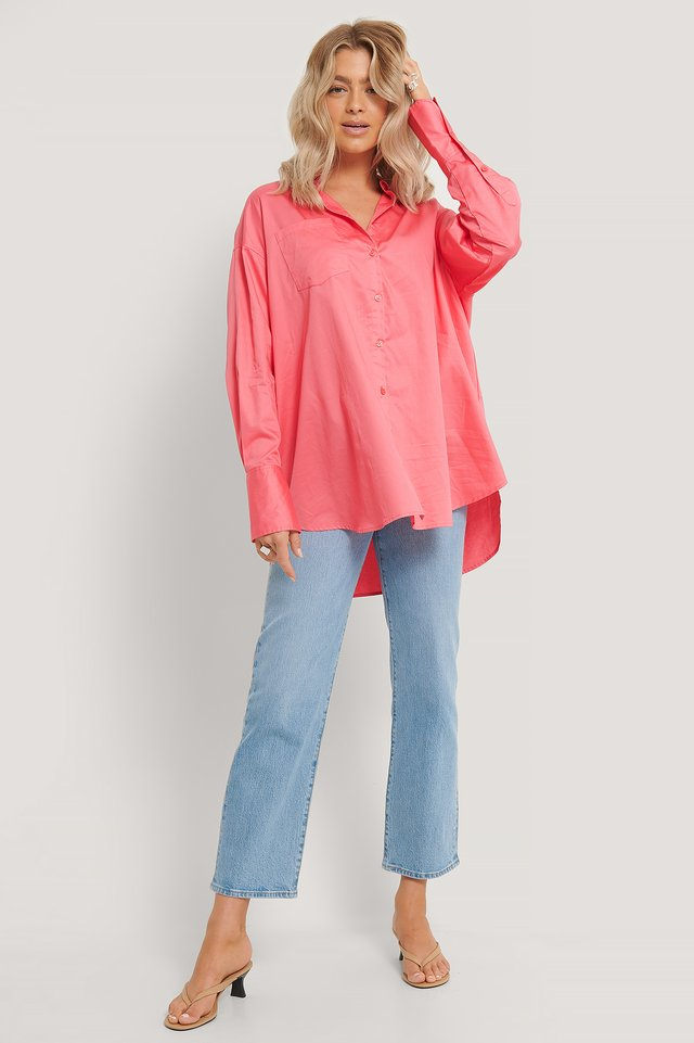 Recycled Oversize Skjorta Med Ficka Strong Pink