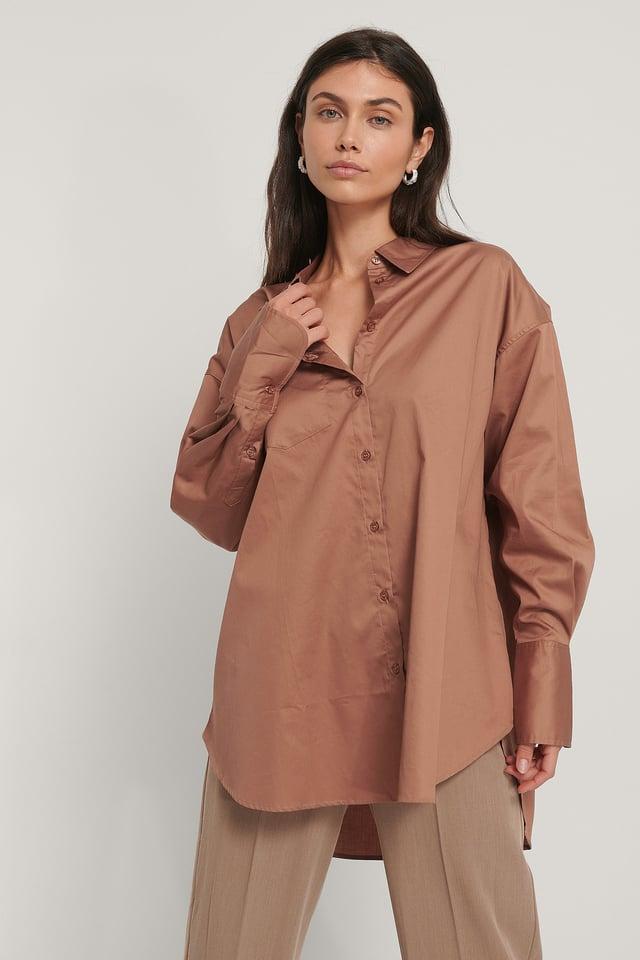 Rust Genanvendt Oversize Skjorte Med Lomme
