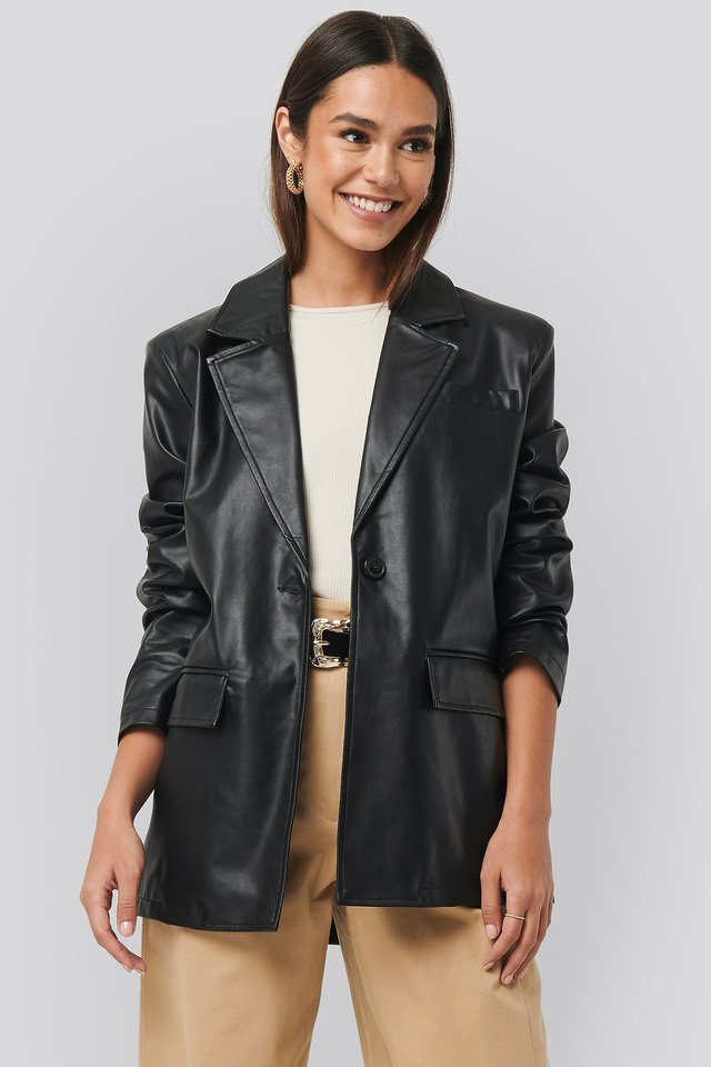 Oversized PU Blazer Black