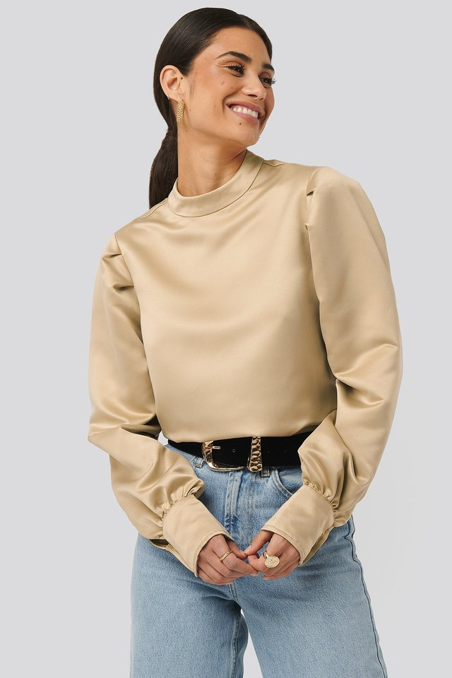 Beige Oversized Puff Sleeve Blouse