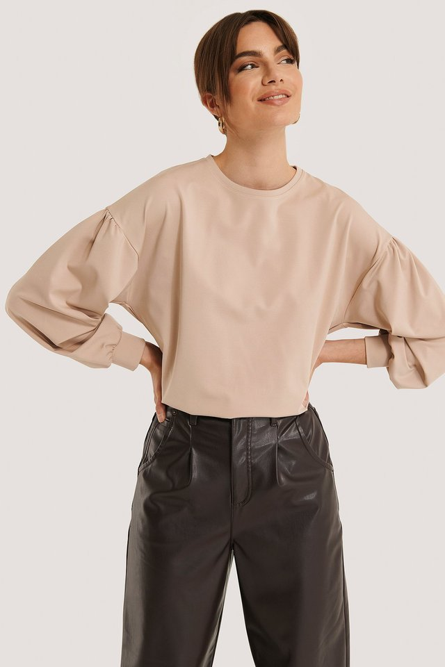 Beige Oversized Puff Sleeve Top