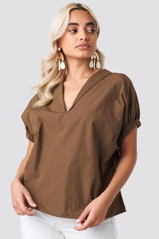 Brown Oversized Puff Short Sleeve Shirt