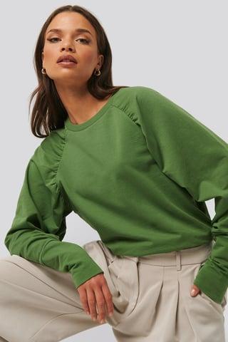 Green Oversized Raglan Sleeve Detailed Sweater