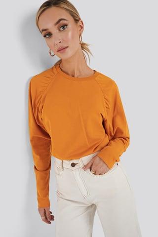 Orange Oversized Raglan Sleeve Detailed Sweater