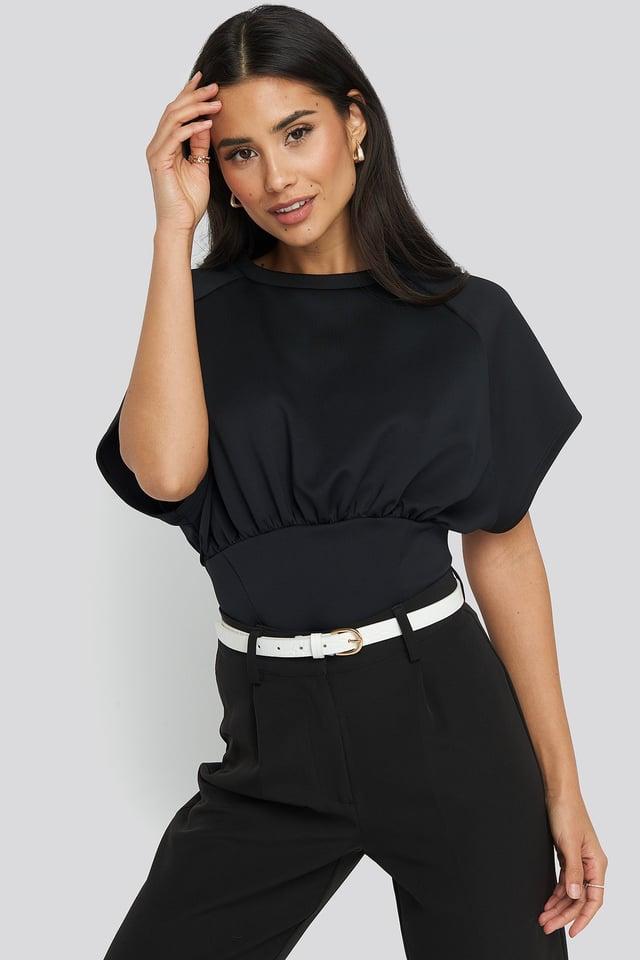 Black Oversized Raglan Sleeve Top