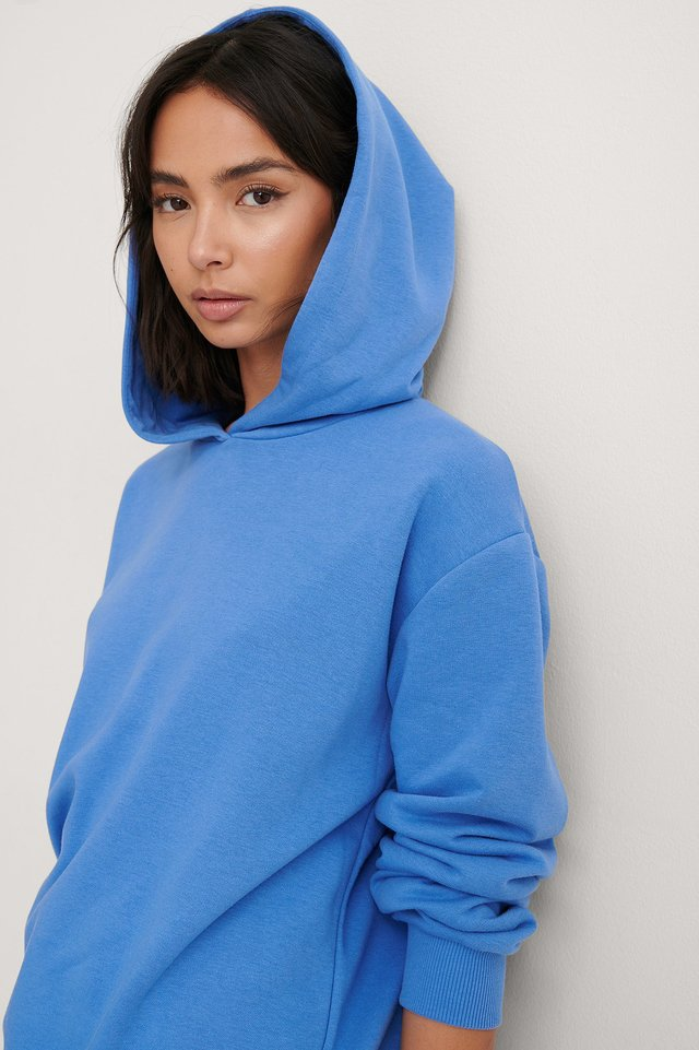 Blue Organic Oversized Relaxed Hoodie